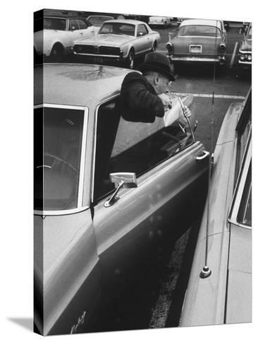 Buisness Man Pat Sappo Parking His Car for a One-Day Commute - New York to Washington DC and Back--Stretched Canvas Print