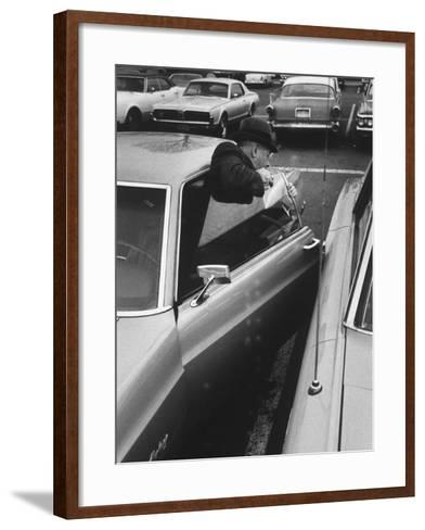 Buisness Man Pat Sappo Parking His Car for a One-Day Commute - New York to Washington DC and Back--Framed Art Print