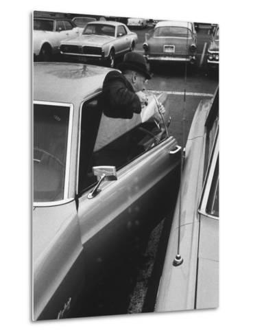 Buisness Man Pat Sappo Parking His Car for a One-Day Commute - New York to Washington DC and Back--Metal Print