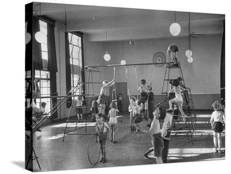 One of Doncaster's New Schools Showing Children Enjoying the Gym and All of its Equipment--Stretched Canvas Print