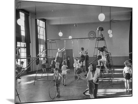 One of Doncaster's New Schools Showing Children Enjoying the Gym and All of its Equipment--Mounted Photographic Print