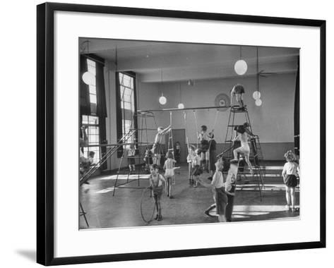 One of Doncaster's New Schools Showing Children Enjoying the Gym and All of its Equipment--Framed Art Print