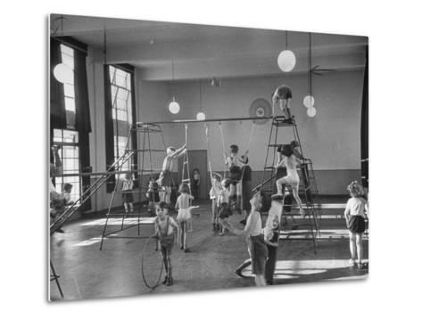One of Doncaster's New Schools Showing Children Enjoying the Gym and All of its Equipment--Metal Print