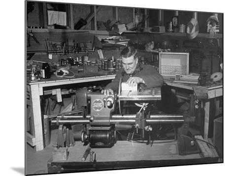 """A Man Using the New """"Shopsmith"""" a Multi-Purpose Power Tool for Carpentry Duties--Mounted Photographic Print"""
