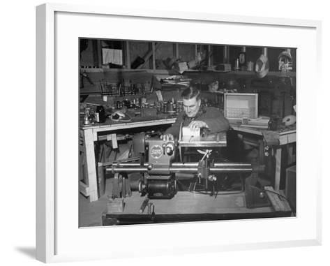 """A Man Using the New """"Shopsmith"""" a Multi-Purpose Power Tool for Carpentry Duties--Framed Art Print"""