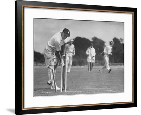 Men Setting Up Cricket Field--Framed Art Print