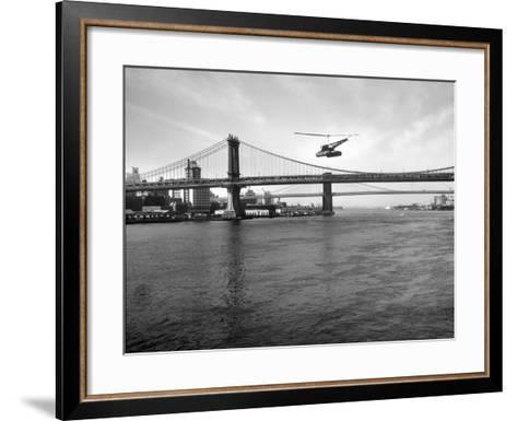 NYC Police Helicopter Hovering over the East River Next to the Manhattan Bridge--Framed Art Print