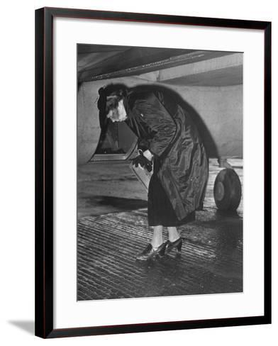 Eleanor Roosevelt Examining Rear Turret-Gunner's Compartment under the Tail Assembly of US Bomber--Framed Art Print
