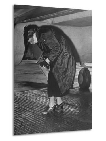 Eleanor Roosevelt Examining Rear Turret-Gunner's Compartment under the Tail Assembly of US Bomber--Metal Print