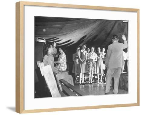 Worshippers Attending a Church of God Service--Framed Art Print