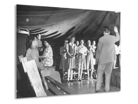 Worshippers Attending a Church of God Service--Metal Print