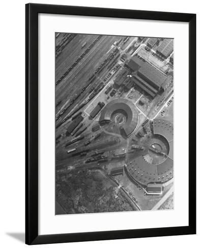Aerial View of Railroad Round Houses--Framed Art Print