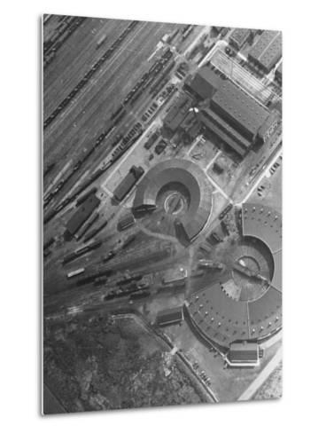 Aerial View of Railroad Round Houses--Metal Print