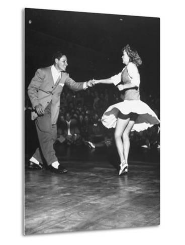 Couple Dancing in a Jitterbug Contest--Metal Print