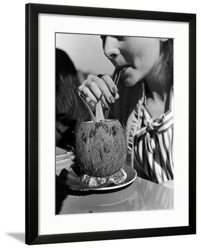 Manga Reva Cocktail, Garnished with Pineapple and Drunk Through Straws from a Coconut Shell--Framed Art Print