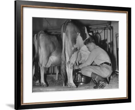 A Boy Milking a Cow--Framed Art Print
