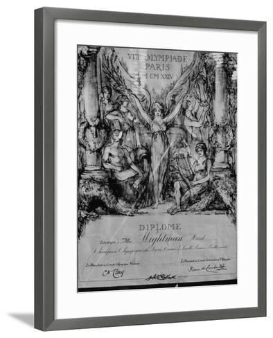 Citation Stating That Hazel Wightman Won Women's and Mixed Doubles in 1924 Olympics at Paris--Framed Art Print