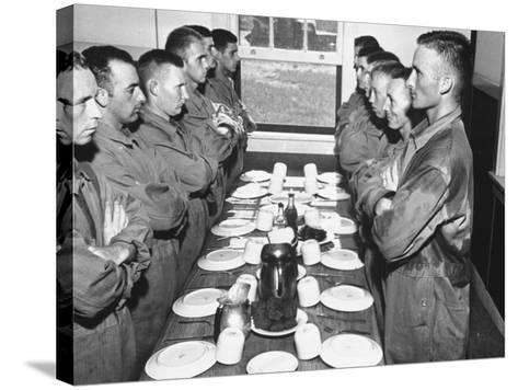 Marines Standing at Attention, before Eating, in the Mess Hall--Stretched Canvas Print