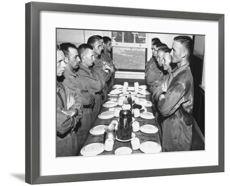 Marines Standing at Attention, before Eating, in the Mess Hall--Framed Art Print
