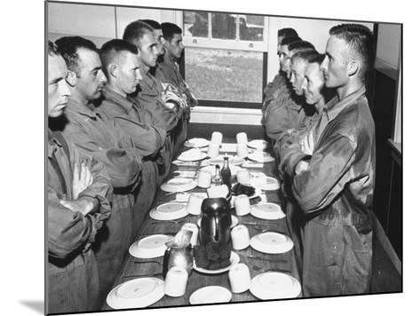Marines Standing at Attention, before Eating, in the Mess Hall--Mounted Photographic Print