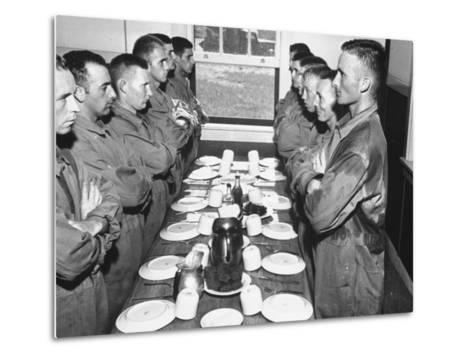 Marines Standing at Attention, before Eating, in the Mess Hall--Metal Print