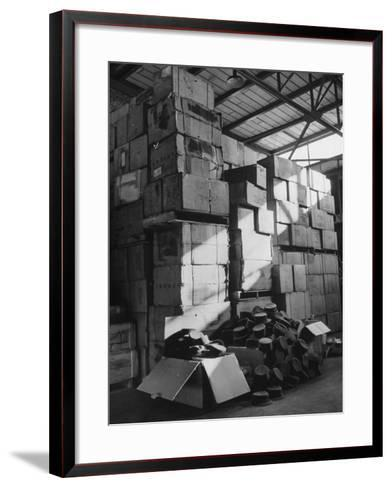 View of Warehouse Full of Boxes of Obsolete Wac Hats--Framed Art Print