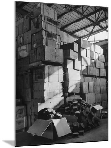 View of Warehouse Full of Boxes of Obsolete Wac Hats--Mounted Photographic Print