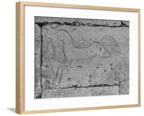 Carving of a Horse on Wall of Temple of Ramses II at Abydos--Framed Art Print