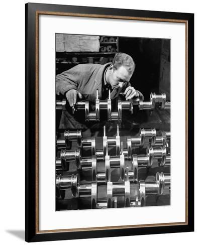 Man Inspecting Fine Steel Airplane Crankshaft--Framed Art Print