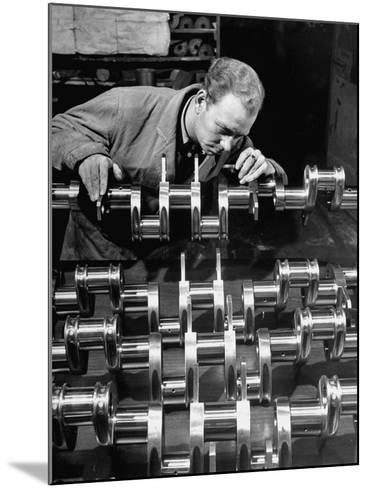 Man Inspecting Fine Steel Airplane Crankshaft--Mounted Photographic Print