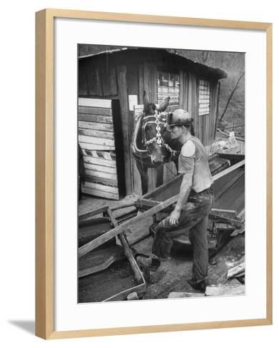 A Miner Standing with a Mule at the Rock House Coal Co. Mine--Framed Art Print
