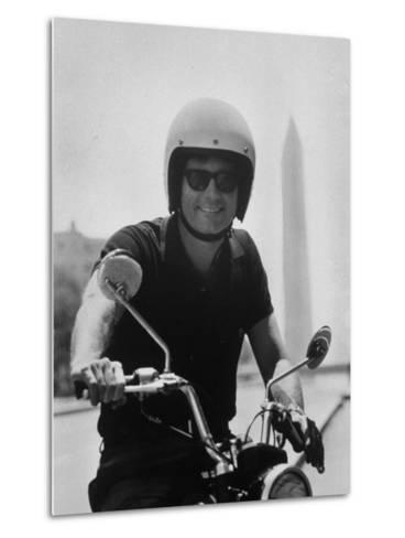 Peace Corps Director, Joseph H. Blatchford, Riding Motorcycle--Metal Print