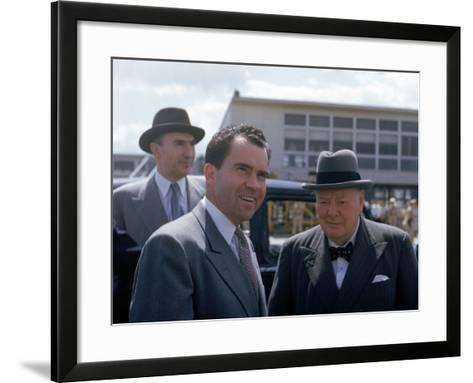Richard Nixon and Winston Churchill--Framed Art Print