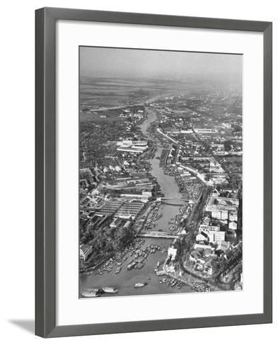 A View of the Saigon River Near the Harbor of the City--Framed Art Print