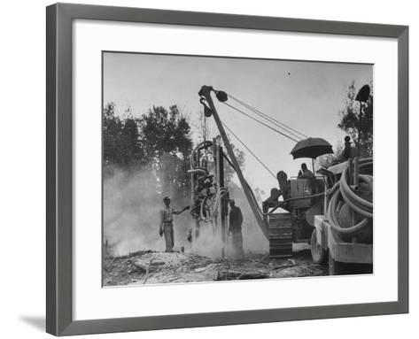 Workers From Gulf Interstate Gas Co. Laying Pipe to Be Used in Natural Gas Pipeline--Framed Art Print