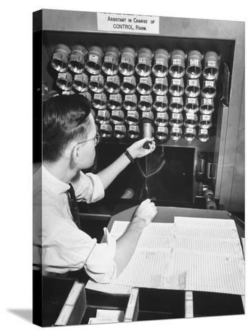 A Man Working in the Control Room in the Basement of the Library of Congress--Stretched Canvas Print