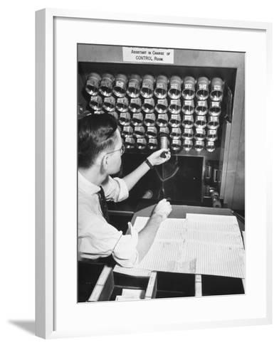A Man Working in the Control Room in the Basement of the Library of Congress--Framed Art Print