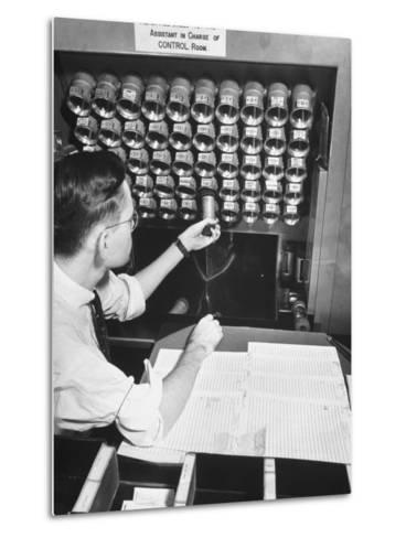 A Man Working in the Control Room in the Basement of the Library of Congress--Metal Print