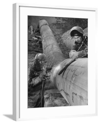 Workers Welding Pipeline to Be Used for Natural Gas--Framed Art Print