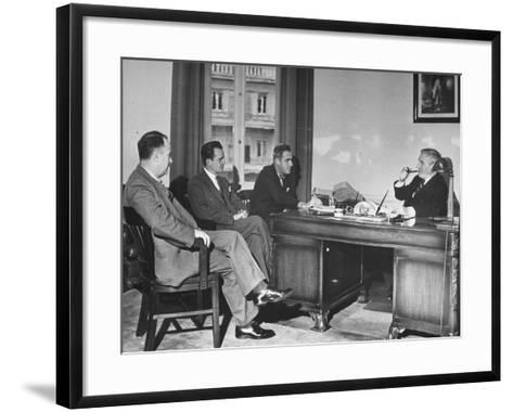 James H. Keeley, Oliver M. Marcy, Leonard J. Cromie and Lincoln Macveagh Having a Conference--Framed Art Print