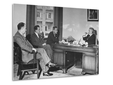 James H. Keeley, Oliver M. Marcy, Leonard J. Cromie and Lincoln Macveagh Having a Conference--Metal Print