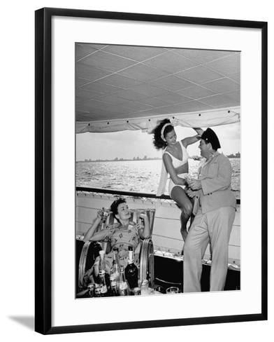 Miami Night Club Performers Future Fulton and Henry Dubbon Relaxing with Peggy Martin--Framed Art Print