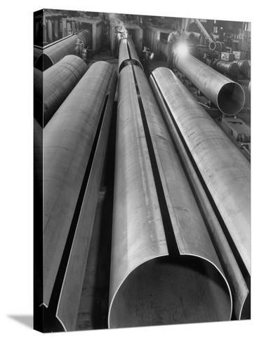 Length of Steel Pipe, to Be Used for Natural Gas Lines, Automatically Formed and Welded--Stretched Canvas Print