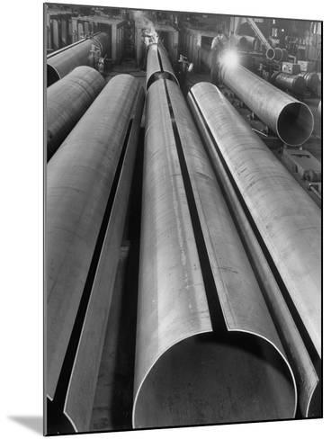 Length of Steel Pipe, to Be Used for Natural Gas Lines, Automatically Formed and Welded--Mounted Photographic Print