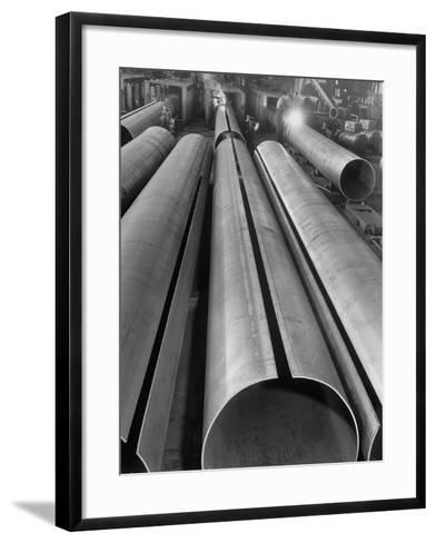 Length of Steel Pipe, to Be Used for Natural Gas Lines, Automatically Formed and Welded--Framed Art Print