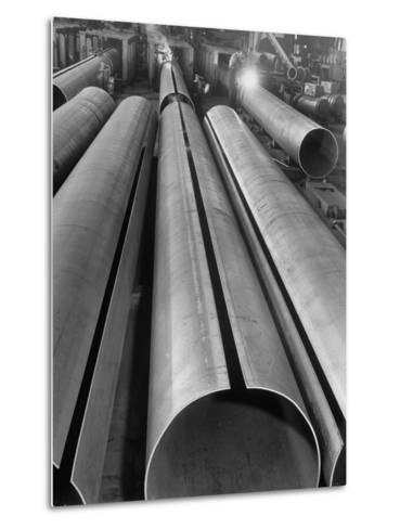 Length of Steel Pipe, to Be Used for Natural Gas Lines, Automatically Formed and Welded--Metal Print