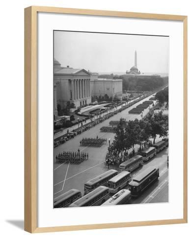 Troops Marching in the Memorial Day Parade, the Smithsonian and Washington Monument in Background--Framed Art Print