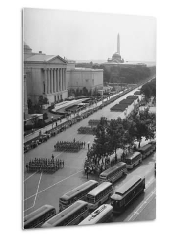 Troops Marching in the Memorial Day Parade, the Smithsonian and Washington Monument in Background--Metal Print
