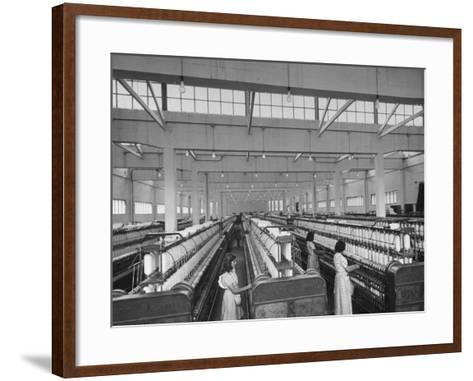 Women Working in the Spinning Room of Textile Mill--Framed Art Print