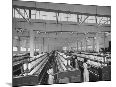 Women Working in the Spinning Room of Textile Mill--Mounted Photographic Print